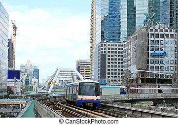 céu, trem, em, bangkok, com, negócio, predios