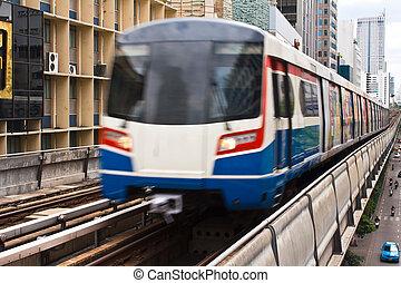 céu, trem, em, bangkok