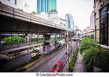 céu, trem, em, bangkok., thailand., cidade, paisagem