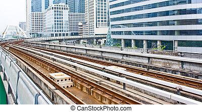 céu, trem, linha estrada ferro, em, bangkok