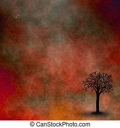 céu, vermelho, paisagem