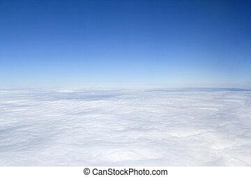 céu, vista, acima, nuvens, azul, aéreo