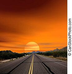 céus, pôr do sol, deserto, estrada