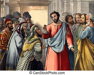 cézár, mond, render, jézus
