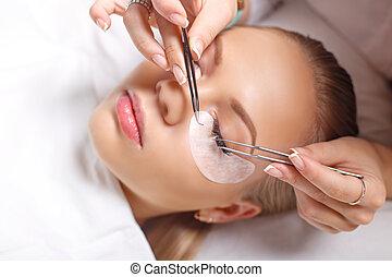 cílio, extensão, procedure., olho mulher, com, longo,...