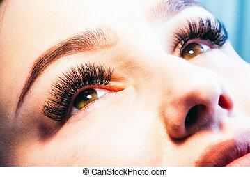 cílio, lashes., artificial, extensão