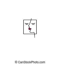 cílio, logotipo, salão, extensão