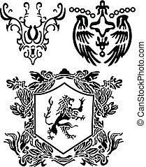 címertani, felcsavar, és, címer, elem