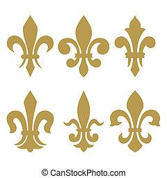 címertani, jelkép, (fleur, ellen-, lis)