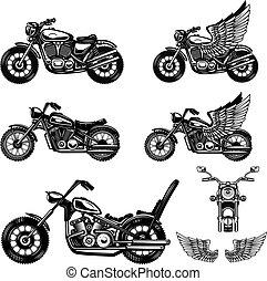 címke, aláír, elem, poster., állhatatos, motorkerékpár, tervezés, jel, embléma, ábra
