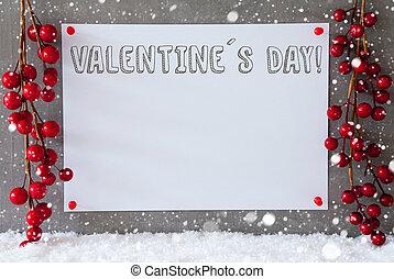 címke, hópihe, dekoráció, szöveg, valentines nap