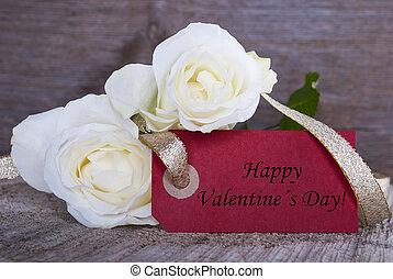 címke, noha, boldog, valentines nap