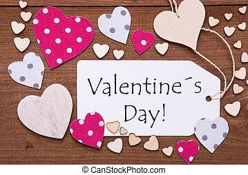 címke, noha, rózsaszínű, szív, szöveg, valentines nap