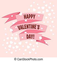 címke, vektor, nap, szalag, valentines