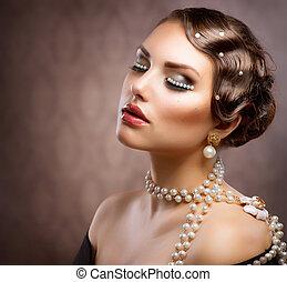 címzett, nő, retro, pearls., alkat, fiatal, portré, gyönyörű