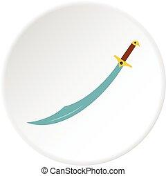 círculo, árabe, cimitarra, espada, icono