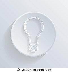 círculo, ícone, com, um, shadow., lightbulb