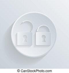 círculo, ícone, com, um, shadow., padlock