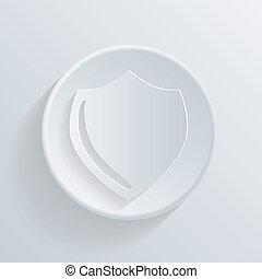 círculo, ícone, com, um, shadow., proteção, escudo