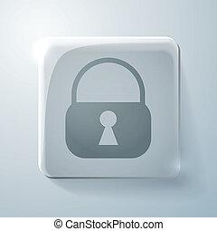 círculo, ícone, com, um, sombra, padlock