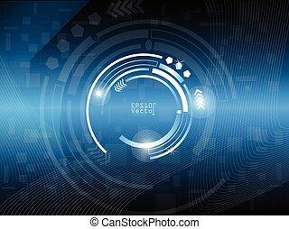 círculo, abstratos, fundo, digital