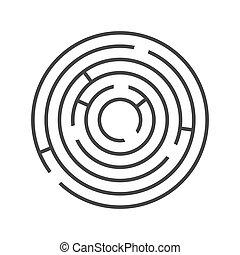 círculo, anel, labirinto, branco, experiência., vetorial