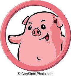 círculo, animais, porca