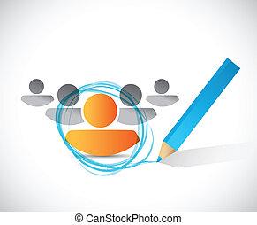 círculo, ao redor, um, person., ilustração, desenho