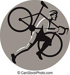 círculo, atleta, bicicleta, cyclocross, retro, proceso de llevar