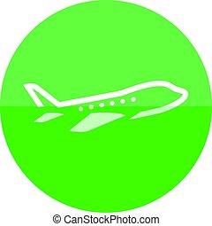 círculo, -, avião, ícone