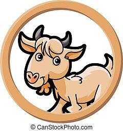 círculo, bandeira, cabra