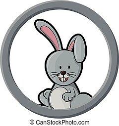 círculo, bandeira, coelho