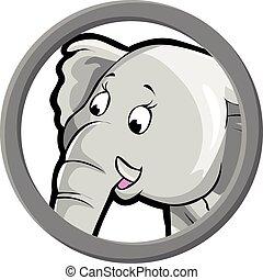 círculo, bandeira, elefante