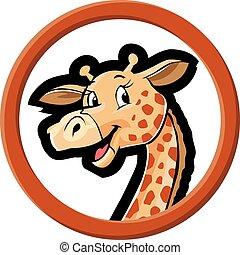 círculo, bandeira, girafe