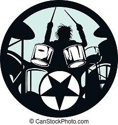 círculo, baterista, estrela, rocha