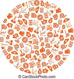 círculo, bitcoin, iconos