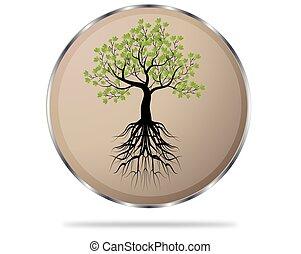 círculo, botão, com, árvore, ícone, vetorial, ilustração