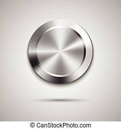 círculo, botón, plantilla, con, metal, textura