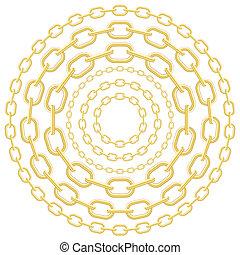 círculo, cadenas, oro