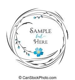 círculo, capim, flores