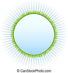 círculo, capim, verde