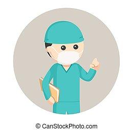 círculo, cirurgião, traje, fundo, doutor