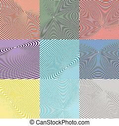 círculo concéntrico, elements., irradiar, radial, circles.