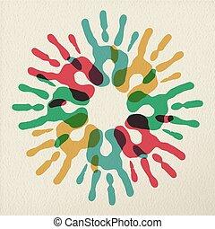 círculo, conceito, grupo, ilustração, mãos