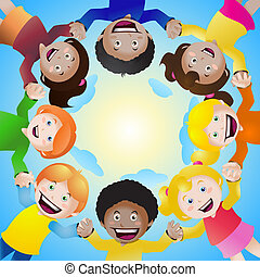 círculo, crianças prendem mãos