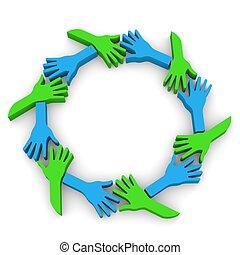círculo, de, amizade, mãos, 3d, em, wh