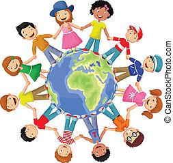círculo, de, feliz, crianças, caricatura, di
