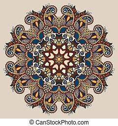círculo, decorativo, espiritual, indio, símbolo, de, flor de...