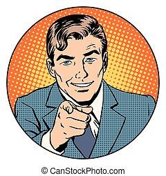 círculo, dedo que señala, hombre