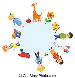 círculo, desenho, crianças, brinquedos